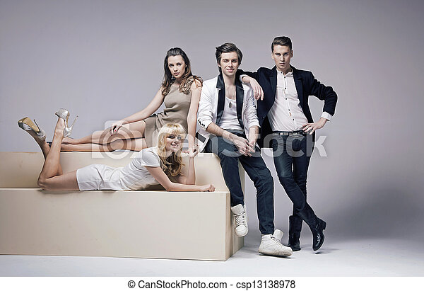 Portrait of four very attractive friends - csp13138978