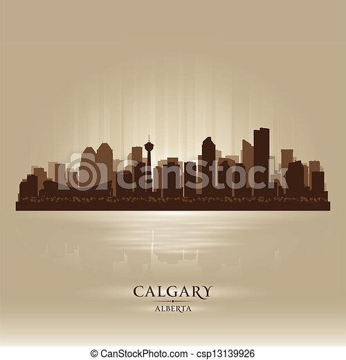 Calgary Alberta skyline city silhouette - csp13139926