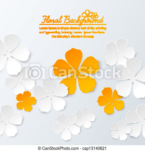 Paper floral background with place for text - csp13140621
