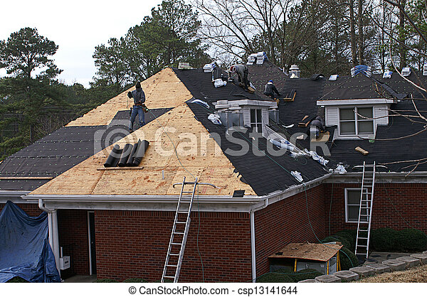 Men Roofing A House - csp13141644