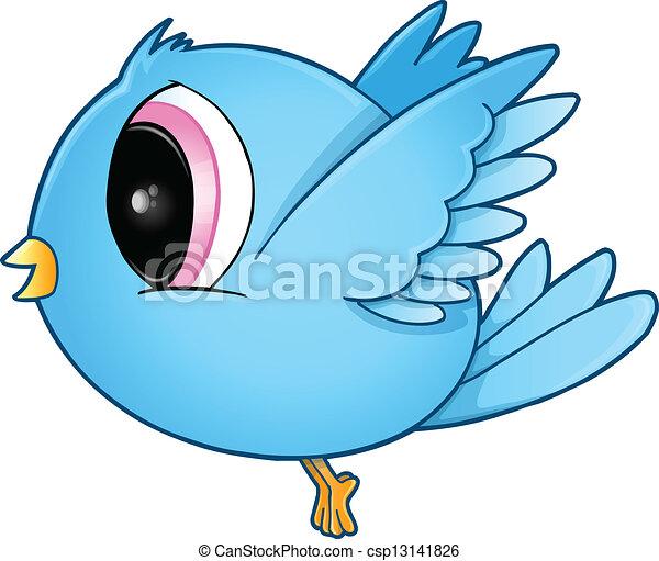 Cute Blue Bird Vector Art - csp13141826