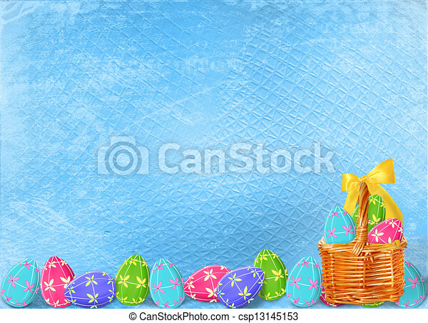 Pastel background with multicolored eggs to celebrate Easter - csp13145153