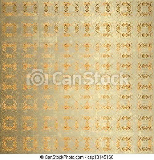 Abstract ancient background in scrapbooking style with gold ornamental  - csp13145160