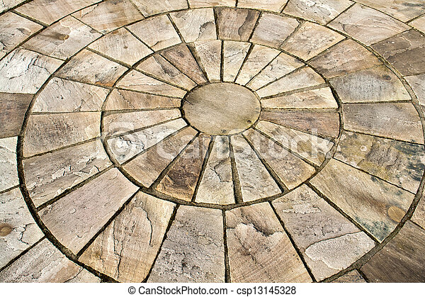 Details of circle design stone floor tiles for outdoors garden