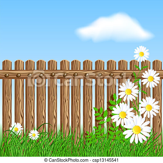 Eps vector of wooden fence on green grass with daisy for Cerco illustratore