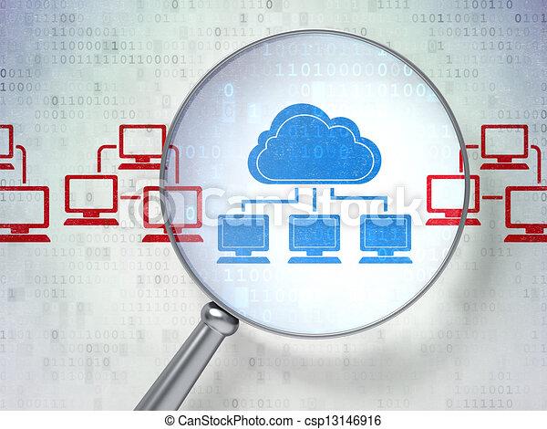 Cloud technology concept: Cloud Technology with optical glass - csp13146916