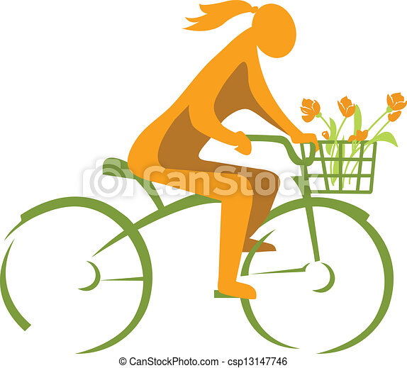 Girl on a bicycle - csp13147746