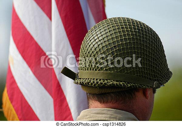 helmet near american flag - csp1314826