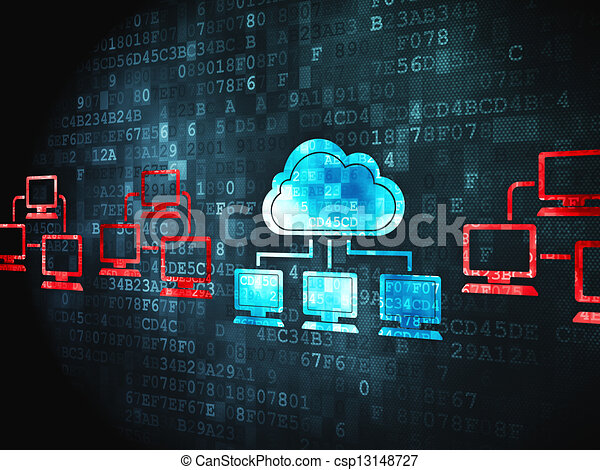 Cloud computing concept: Cloud Technology on digital background - csp13148727