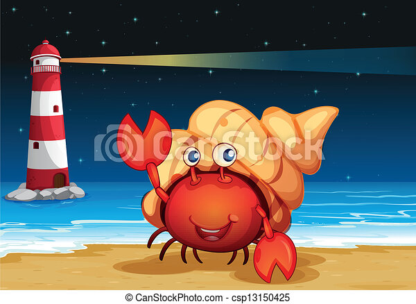 Sea creatures at the beach with a lighthouse - csp13150425