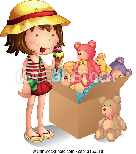 Vector Clip Art of A young girl beside a box of toys ...