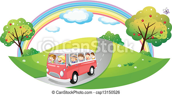A pink bus with passengers - csp13150526