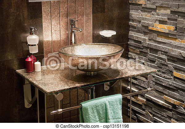 Beautiful Modern Bathroom in Luxury New Home - csp13151198