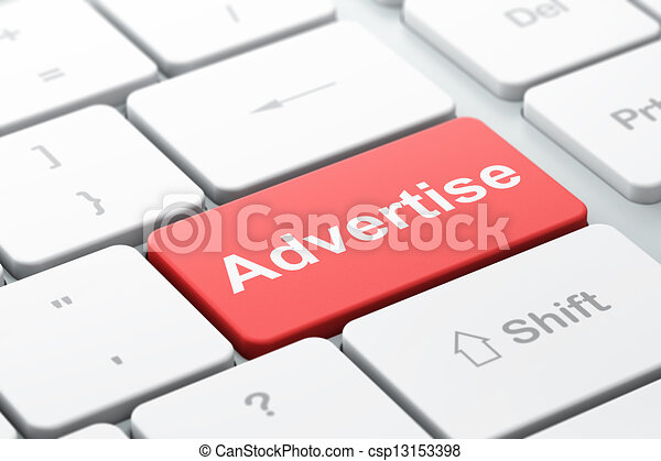 Advertising concept: Advertise on computer keyboard - csp13153398