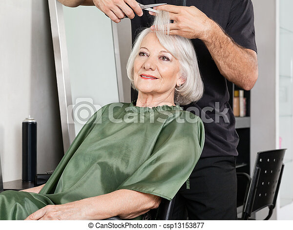 Woman Having Hair Cut At Salon - csp13153877