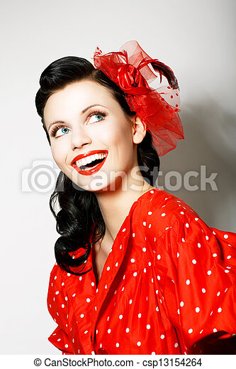 Retro Style. Elation. Portrait of Happy Toothy Smiling Woman in Pin Up Red Dress - csp13154264