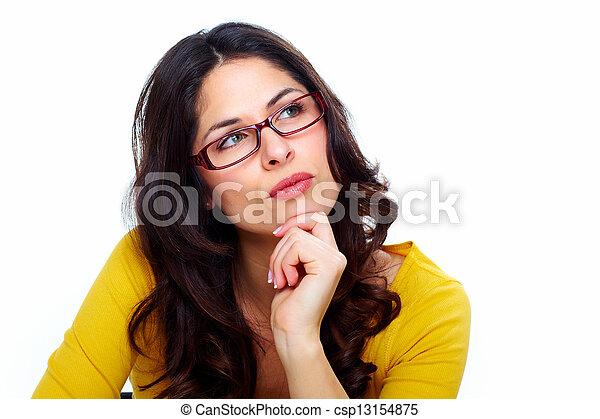 Beautiful young woman wearing glasses. - csp13154875
