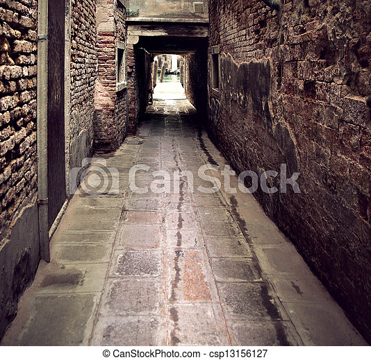 Narrow street in Venice - csp13156127