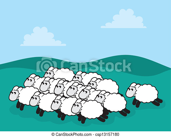 Sheep Flock Drawing Sheep Flock Flock of Sheep