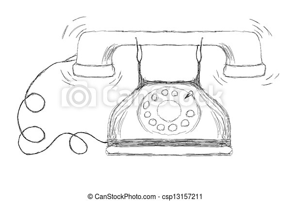 Drawing Of An Ancient Telephone 13157211