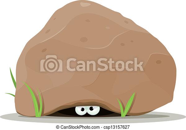 Cartoon Animal Eyes Under Big Stone - csp13157627