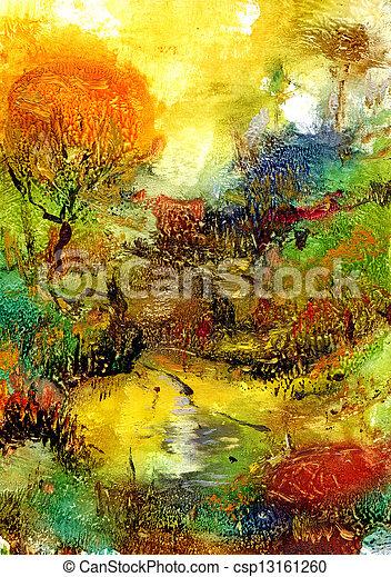 Abstrakt, landschaftsbild - csp13161260