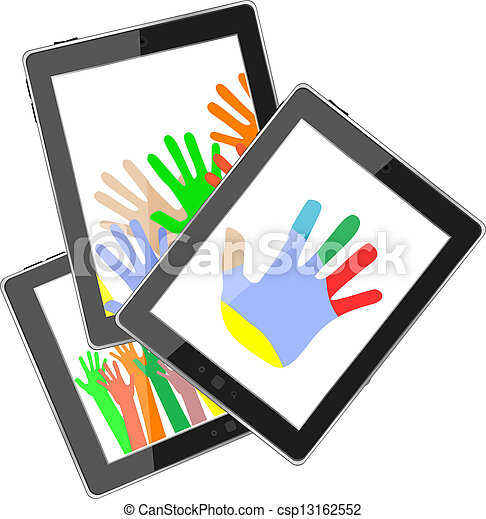 touch tablet pc computer modern technology with hands - csp13162552