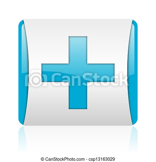 emergency blue and white square web glossy icon - csp13163029