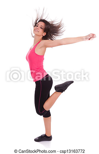 Young beautiful caucasian  fitness woman dancing - csp13163772