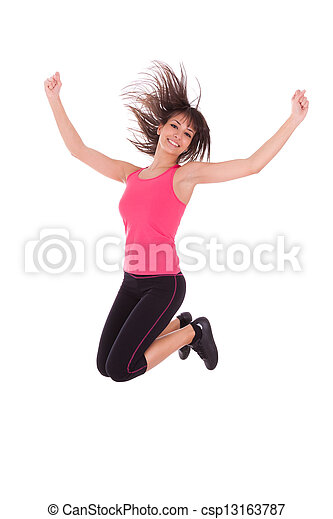 Weight loss fitness woman jumping of joy - csp13163787