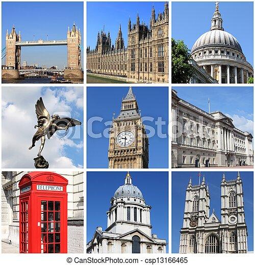 London landmarks collage - csp13166465