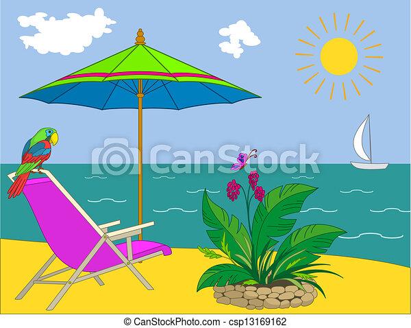 Clip Art Vector of Landscape, ocean shore - Resort beach: coast ...