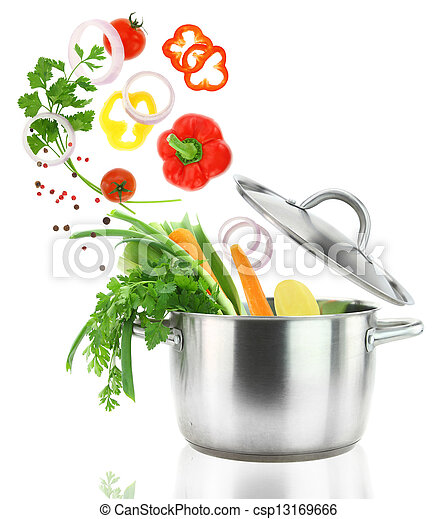 Fresh vegetables falling into a stainless steel casserole pot  - csp13169666