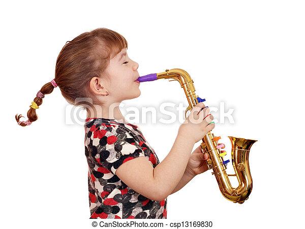 beautiful little girl play music on saxophone - csp13169830