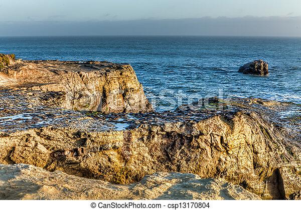 Sunlit Rocks at Natural Bridges State Beach - csp13170804