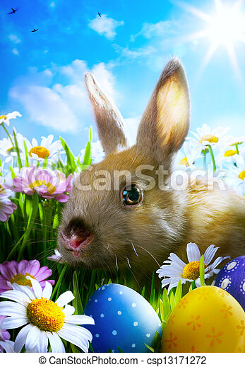 art easter Baby rabbit and easter eggs - csp13171272