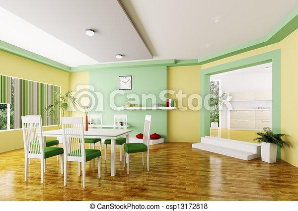 clipart of dining room 3d render - interior of modern dining room