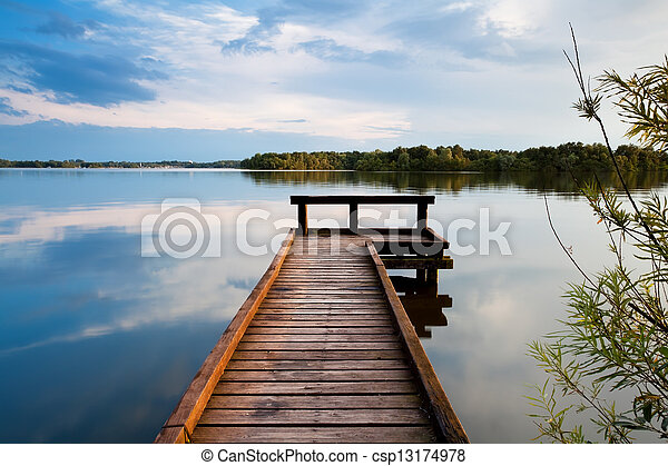 wooden pier on lake - csp13174978