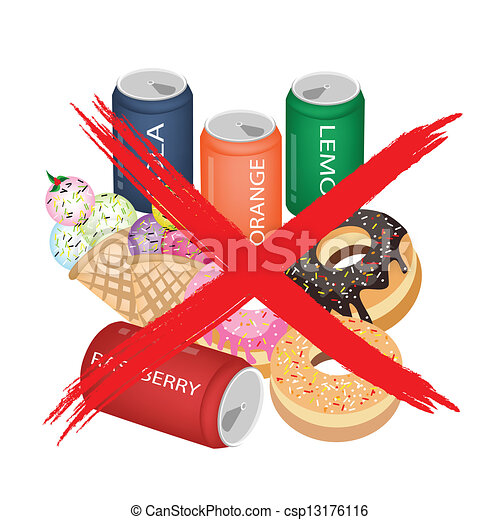 Vector Clip Art of On Eat Sweet Drinks and Sweet Food - No Fast ...