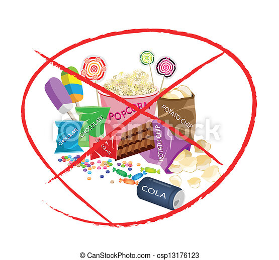 Vector Illustration of On Eat Sweet Drinks and Sweet Snack - No Sweet ...