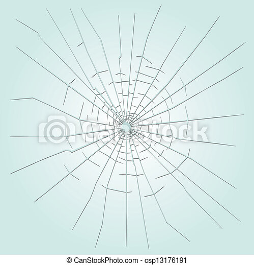 Bullet hole in glass - csp13176191
