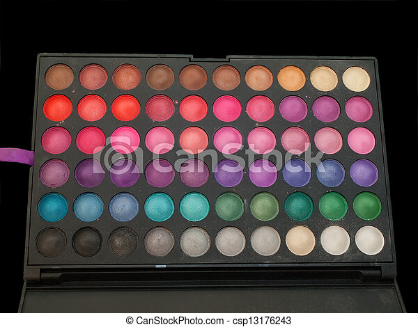 professiona make-up eye shadows palette isolated - csp13176243