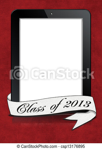 graduation 2013 banner on tablet - csp13176895