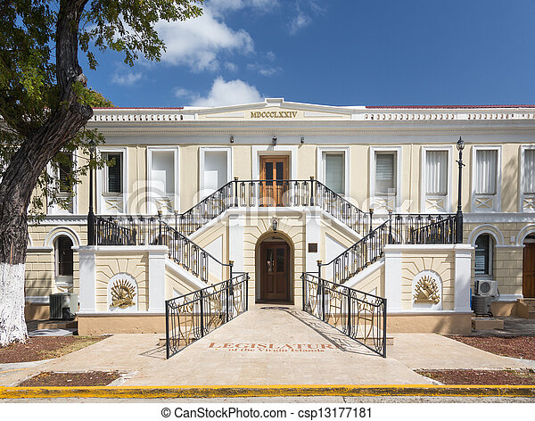 Ornate entrance to Legislature of US Virgin Islands in Charlotte Amalie, which governs the US Virgin Islands