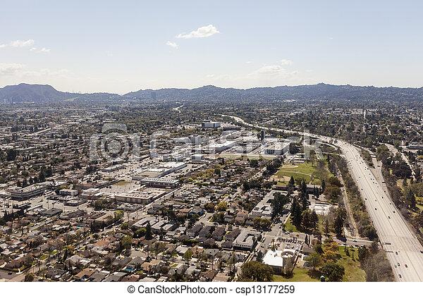North Hollywood California Freeway Aerial - csp13177259