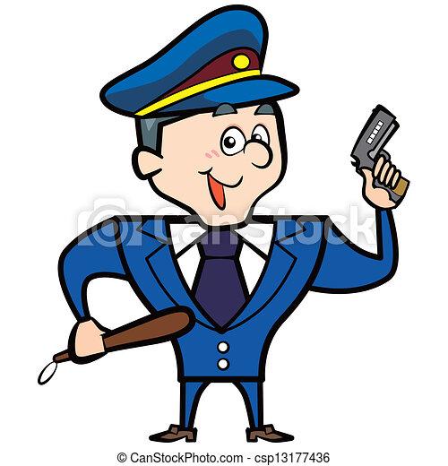 Vectores de caricatura, hombre, policía, arma de fuego, oficial ...