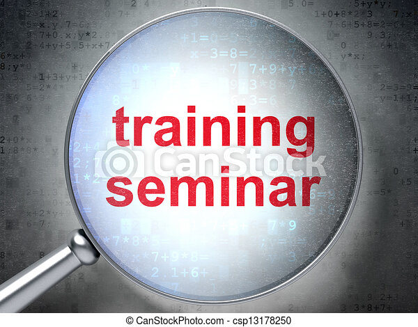 Education concept: Training Seminar with optical glass - csp13178250