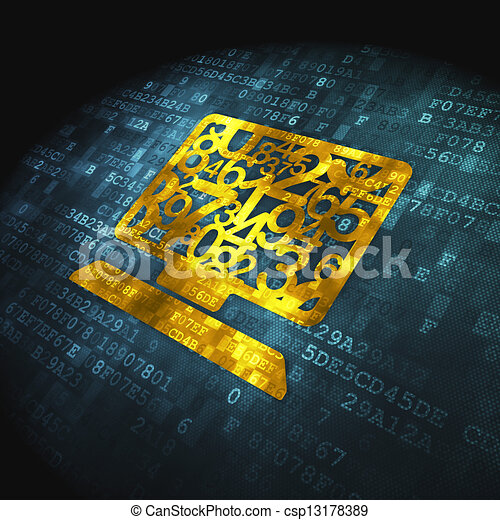 Education concept: Computer Pc on digital background - csp13178389