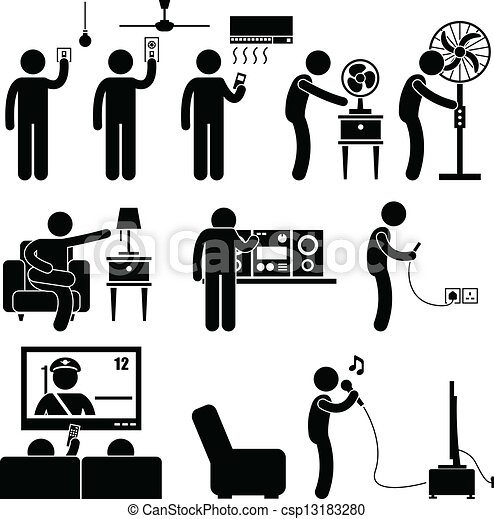 Primitive furniture - Vector Of Man Using Home Appliances Equipment A Set Of