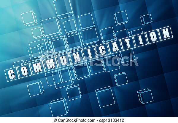 communication in blue glass cubes - csp13183412